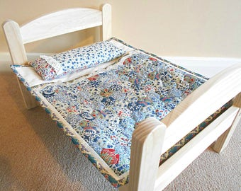Liberty handmade patchwork dolls quilt sleeping bag and pillow for Ikea Duktig wooden dolls bed