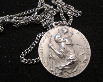 Beautifully Detailed Saint Christopher medal> Silver> Vintage 1960> New Old Stock, never worn