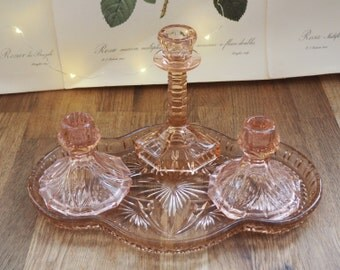 Vintage Art Deco , Pink Depression Glass,  Dressing Table Set, Good Condition, Retro,Boho,Dressing table set, Vintage Glass.
