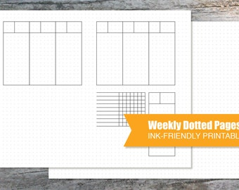 Planner Printable Pages Landscape Weekly Dotted and Blank Dotted Pages