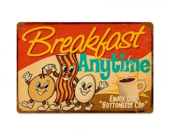 "Metal Sign "" Breakfast Diner Kitchen Decor "" 12""x18"" Dia. Man Cave"