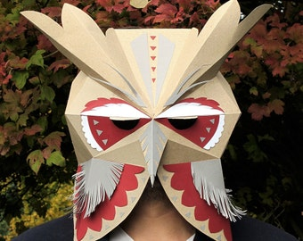 Owl head mask with decor DIY Paper creation PDF pattern printable mask Animal head Best Costume make your own Owl