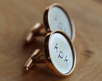 Custom Initial or Monogram Cuff links - Golden Bronze & Sterling Silver