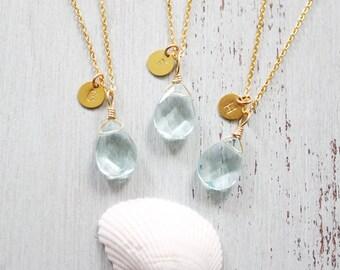 Aqua Quartz Crystal Necklace Bridesmaid Gifts - Boho Blue Crystal Quartz Bridesmaid Necklaces - Ice Blue Aqua Quartz Bridesmaid Jewellery