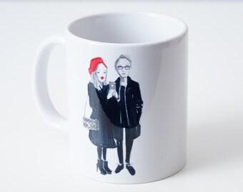 Personalised mug with custom illustration