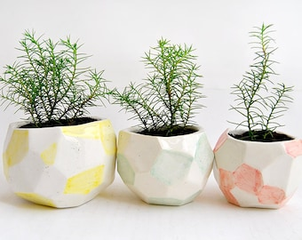 Set of Three Faceted Ceramic Planters, Ceramic Pots, Decorated in Green, Red and Yellow. Ready To Ship