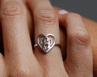 Monogramm Ring, Herz Monogramm Ring Silber Monogramm Ring, Brief Ring, anfängliche Monogramm Ring