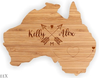 Australia shape personalized cutting board, custom chopping board, cheese and wine wooden board by TreeX