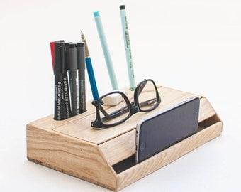 Wood handmade desk organizer / Office modern desk organizer / Handmade desk organizer / Wooden pen holder / Desk accessories organizer