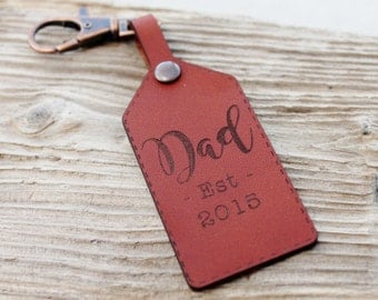 New Dad Personalized Gift Leather Keychain, Personalised Keyring, Year Established, Fathers Day for Him