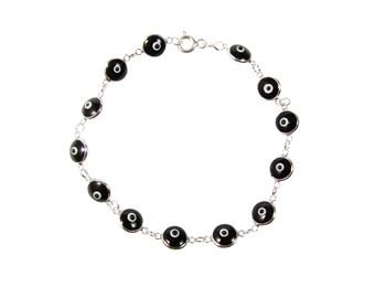 Evil Eye Bead Bracelet Black Beads 925 Sterling Silver Bracelet Turkish Greek Amulet