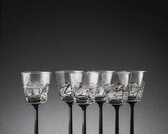 Set of 6 crystal goblets Piper Chiarte