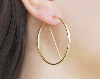 Large Gold Hoops, Gifts Under 20, Earrings Under 20, Modern Earrings, Minimal Hoops, Hoop Earrings, Unusual Hoop Earrings, Geometric Hoops