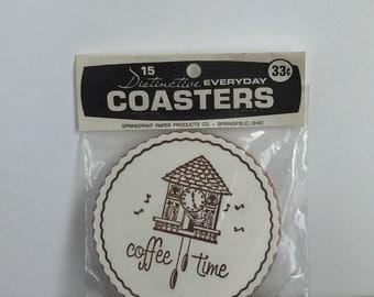 "Paper Coasters - Package of 15 Vintage ""Coffee Time"" Paper Coasters, New Old Stock (NOS), Vintage Coasters, Drink Coasters, Vintage Coffee"