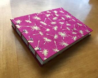 Dandelion Puffs Sketchbook // Elegant Handmade Notebook // Fancy Hardcover Coptic Stitch Journal // Gold and Pink // Gifts Under 10