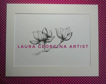 Original Botanical illustration, Magnolia Flower,Hand Drawn, Pen & Ink, monochrome,A4 Mounted 14x11, Original Gift