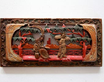 Carved wood panel Art of Two Chinese Peking opera characters Wood sculpture of Chinese Antique small wood carving Folk Art