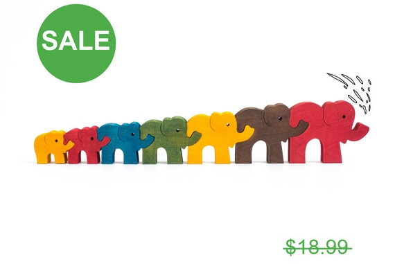 Jigsaw Puzzle Elephants, Educational Toy for Kids, Montessori Toy, Wooden Puzzle, Brain Teaser, Handmade Toy, Toddler Gift, Christmas Gift