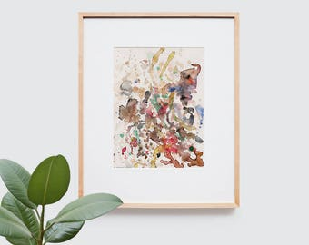 Abstract art composition - Contemporary art - Watercolor Print - Limited edition. Topos VI.