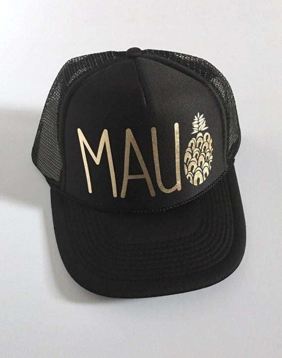 Maui Trucker Hat| Aloha Hat| Hawaii Hat|Pineapple | Trucker Hat| Black-Gold Vinyl Print