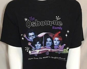 Vintage The Osbourne Family Black X-Large Short Sleeve Tee T-Shirt XL OZZY