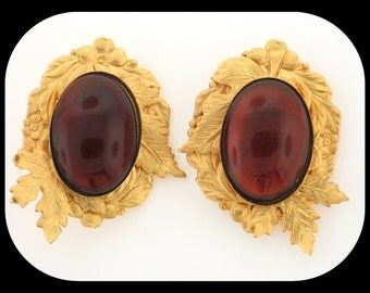 Vintage Statement Unsigned Amber Poured Glass Cab Gold Plated Clip On EARRINGS
