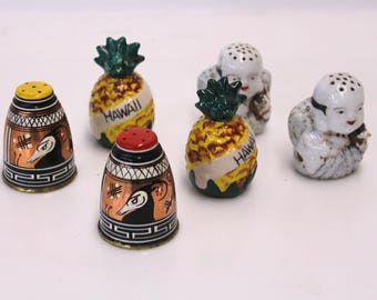 Lot of Vintage Salt and Pepper Shakers - Three Sets of Various Kitschy Vintage Salt & Pepper Shaker Sets