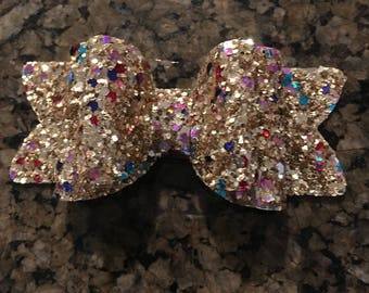 Double golden multi glitter Hair bow