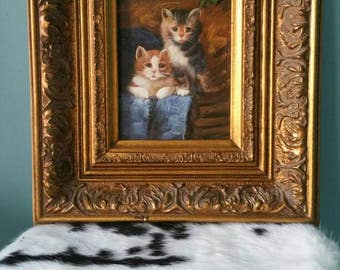 Adorable kitten painting! Framed antique painting cats golden frame