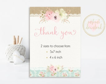 Shabby Chic Thank You Card, Shabby Chic Birthday, Shabby Chic Party, INSTANT DOWNLOAD,  Printable Thank You Cards, Floral Thank You Cards