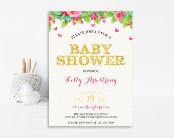 Floral Baby Shower, Baby Shower Invitation, Baby Shower Invite, Printable Invitation, Shower Invitation, Girl Baby Shower, Floral Invitation