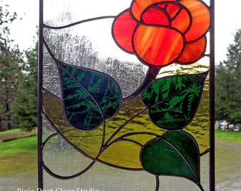 Stained Glass Panel, Art Nouveau Orange Rose, Suncatcher, Glass Rose Window Hanging, Mother's day, Valentine's Gift Idea!