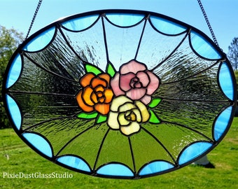 Beautiful Stained Glass Panel, Pastel Rose Cluster, Oval Shaped Stained Glass Window, Suncatcher, Floral, Shabby Chic, Cottage Style