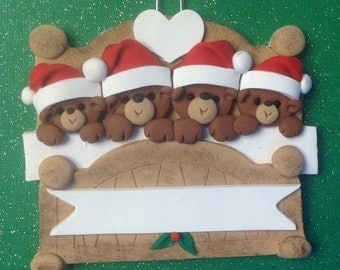 Bear family of 4 in bed personalized polymer clay ornament!