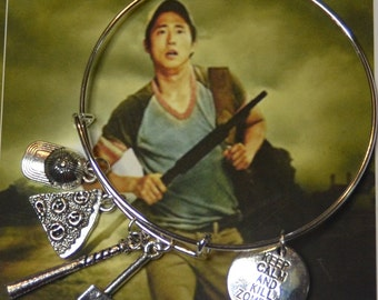 TWD Fan Glenn Rhee Charm  Bracelet Glenn Bangle Charm Bracelet  The Walking Dead Charm Bracelet Jewelry