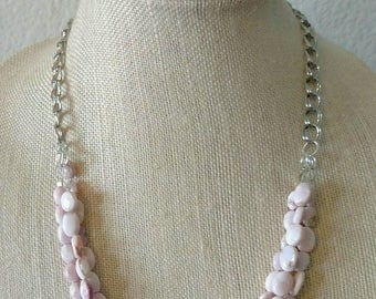 Triple-Strand Small Pink Quartz Bead Necklace