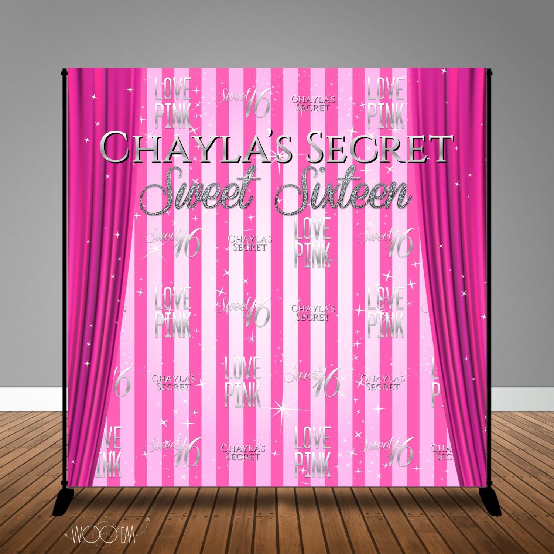 Victoria s Secret Pink Themed Sweet 16 Banner Backdrop