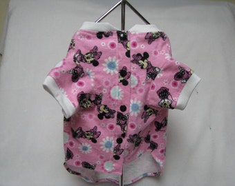 Dog Pet Cat Rabbit Pig XS S L Pink Minnie Flannel Pajamas PJ's Night Shirt