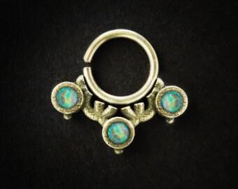 septum nose ring, opal septum, 20g daith hoop, 16g hoop nose ring, opal septum, 16g nose ring, rose gold nose ring, 18g septum ring, Septum