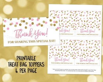 Printable Thank You Treat Bag Toppers Light Pink Gold Confetti Wedding Baby Shower Birthday Instant Digital Download Favor Bag Labels