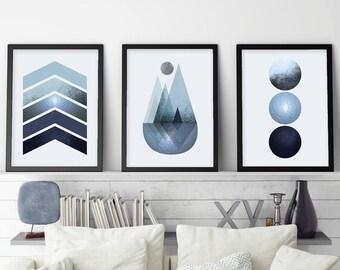 Set of 3 Navy prints, Set of 3, Prints Navy, Trending Now Art, Scandinavian Print, Minimalist Poster, Scandinavian Art,  Printable Art, Navy