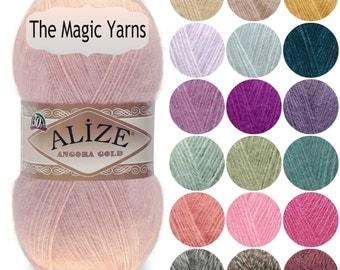 Angora yarn Alize Angora Gold mohair, wool,knitting yarn,crochet,shawl warp ,fingering weight,fine,baby weight,16wpi Sale