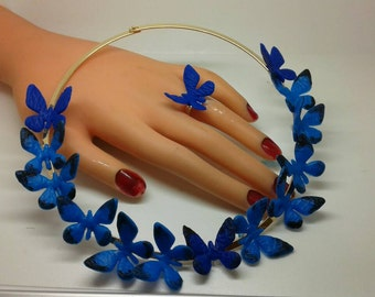 Hand made necklace and unique ring with pretty butterflies.