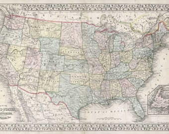 Map of the United States, 1867 Mitchell, Mounted Canvas