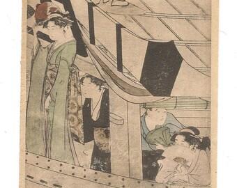 Ukiyo-e Art Print. Japanese Artist Kiyonaga. Vintage Japanese Print.