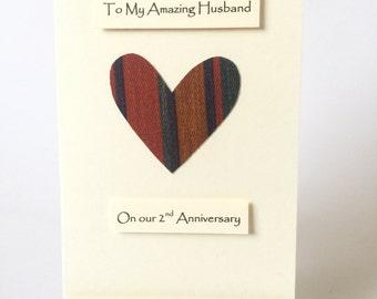 Th wedding anniversary card wool anniversary heart for him