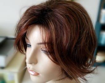 Wispy cut trendy hair, Highlighted auburn and brown wig, photo shoot wig, photo prop, Modern Cut Wig