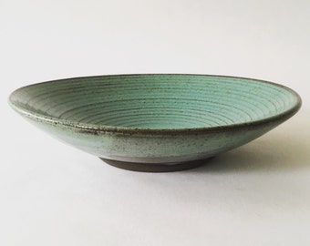 Graceful, Ceramic, Serving Bowl, Salad Bowl, Pasta Bowl, Fruit Bowl, Rustic, Wheel thrown, Turquoise, Handmade, OOAK