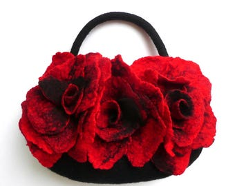 SALE-15%   Felted Bag, Felt Purse, Felt Bag,Felted Handbag, Bags, Red Bag, Black Purse,Flower Bag,Poppy Handbag, Art Wet Felted,  Poppy bag