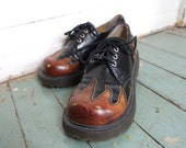 90s Flame Club Shoes- 1990s Chunky Platform Oxfords- Goth / Punk- Size 7.5